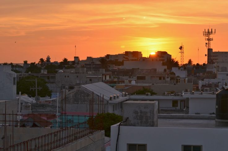 Sunset from roof-top bar at Casa Sirena