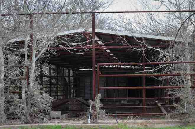 abandoned dairy cow run front view