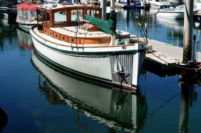 old school boat in SB harbor