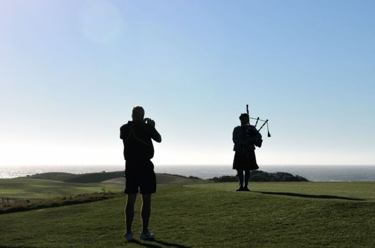 Bagpiper at Spanish Bay