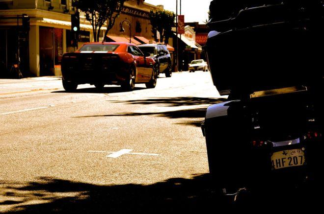 camaro and dark knight on main street in hollister