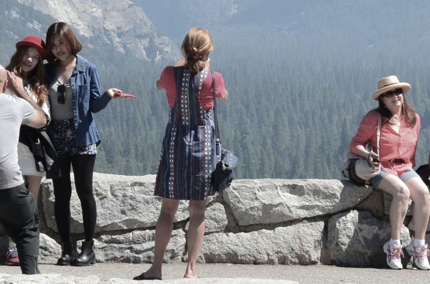 Japanese girls posing in Yosemite