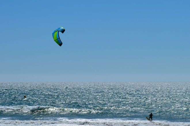 Wind surfer taking off