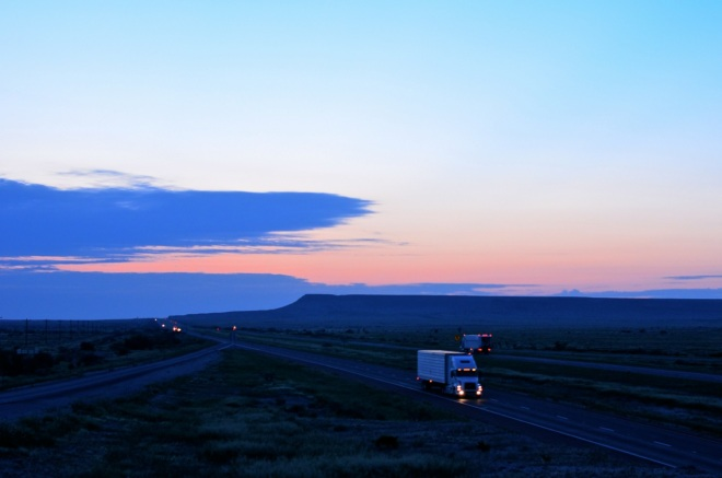 Trucks passing each other West of Fort Stockton