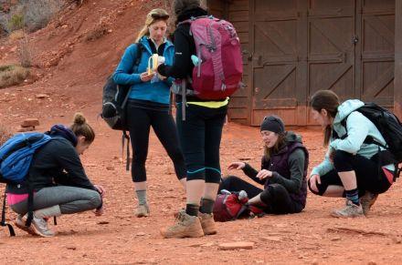young women trekkers at rr stop