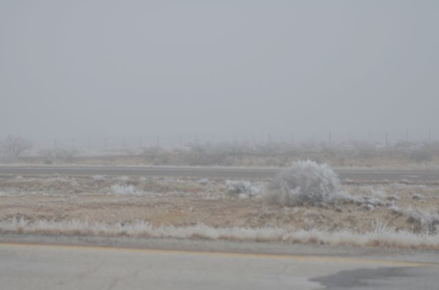 icy road road out of Van Horn