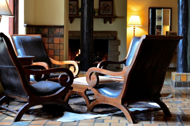 leather chairs in lobby