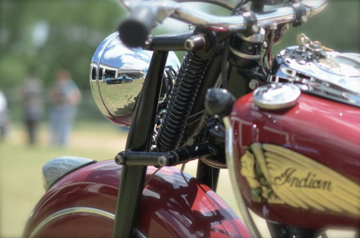 Harley reflected in Indian