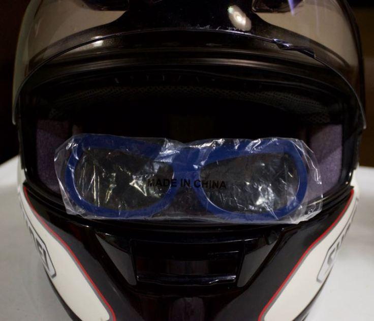 3d glasses in helmet