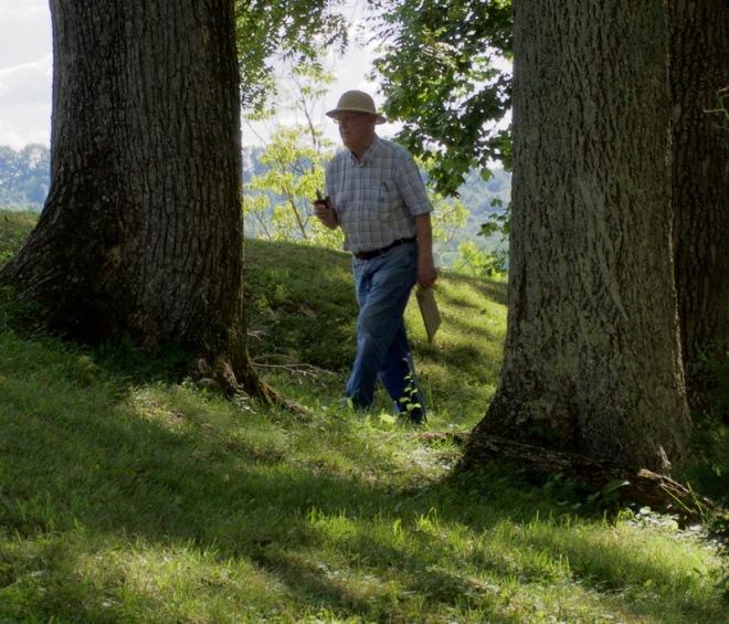 Dad Walking through Draco at Serpent Mound