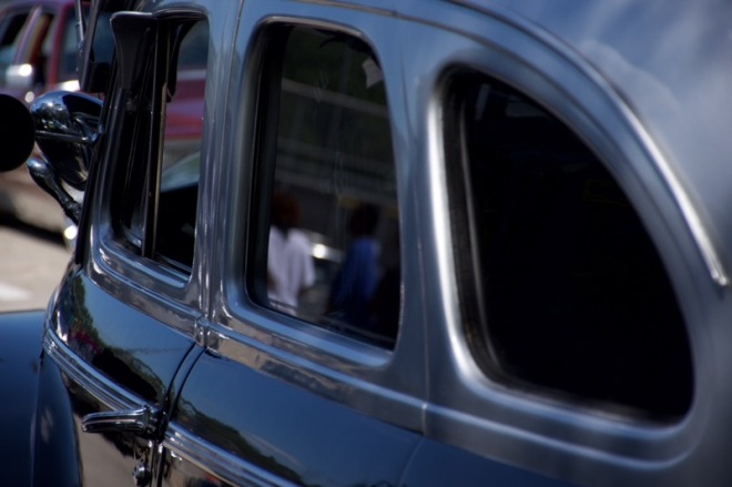 Reflection in rear door window